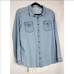 Wishful park L chambray lace button front